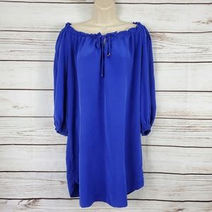 Alice & Trixie | Royal Blue Silk Off Shoulder Dres